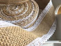Hessian Ribbon With White Lace Edging,Wedding,Bouquet Wrap,Sewing,Crafts, 1 MTR