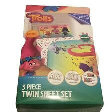 Trolls Love the Beat 3 Piece Microfiber Twin size sheet set NEW