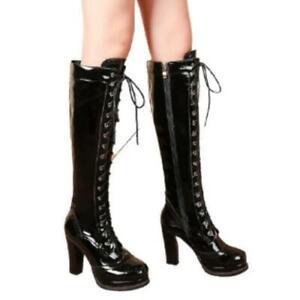 Women Patent Leather Brogue Block High Heel Zipper Knee High Knight Boots Punk L