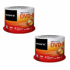 100 Sony DVD-R 120Min DVD registrabile 4.7GB per i dati e di video (16x)