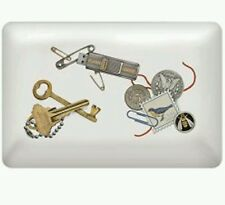 """""""Catch-all stoneware tray. Stamps, keys, change, is what it's all about"""
