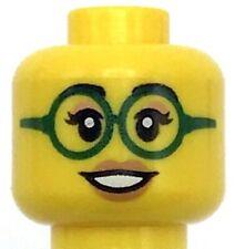Lego New Yellow Minifigure Head Dual Sided Female Black Eyebrows Green Glasses