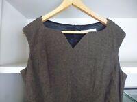 LK BENNETT BROWN WOOL BLEND TWEED SLEEVELESS PENCIL DRESS - RUCHED SIDE - SZ 14