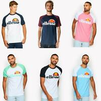 Ellesse Cassina Raglan Cotton Two Tone T-Shirt Printed Logo in White, Blue, Pink
