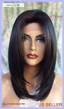 Lace Front Wig HAND TIED HEAT FRIENDLY COLOR #1 SOFT STRAIGHT LAYERS USA 1130