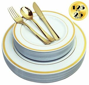 JL Prime 125 PC Heavy Duty Disposable Gold Plastic Plates & Silverware for Party