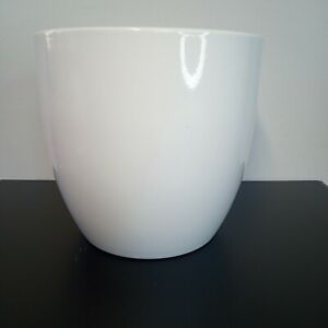 """Plain White Gloss Ceramic Planter Made in Germany  6.25"""" wide x 6"""" tall"""