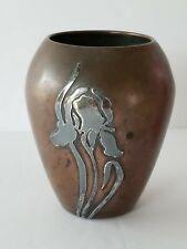 Antique Heintz Sterling Over Bronze Bud Vase Iris