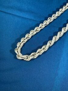Rope Style 925 Solid Sterling Silver Chain Gents Iced Out CZ Stones