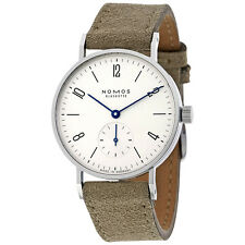 Nomos Tangente 33 Galvanized White Dial Velour Leather Ladies Watch 122