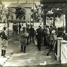 Vtg Magic Lantern Glass Slide Photo Military Men Setting Up Neighborhood Defence