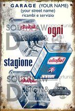 Retro Personalised OLIO FIAT SERVICE PUNTO 500 SPIDER Metal Tin Sign 28cm x 19cm