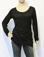 Damen Stretch Zipfelbluse Bluse Shirt Tunika mit Zipfel schwarz Gr 36 / 38 S