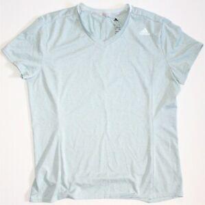 ADIDAS Womens Climalite Three Stripe Shirt Green Short Sleeve Wicking Size L