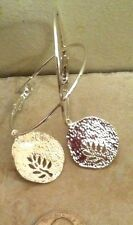 """Earrings Silver Plated, Jewish Wicca Boho Tree Of Life Hammered Silver On 2""""Hoop"""