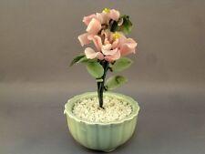Vtg Jade Glass Bonsai Tree Chinese Japanese Art Oriental Flower Blossom in Vase