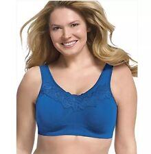 1271 Pure Comfort Wirefree Bra Lace Trim Back Close Size 4X Velve Eve Blue