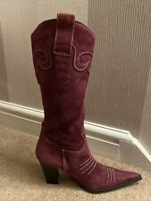 Stunning Purple Suede Leather Cowboy Boots by Shellys London Size 36 (UK3.5) USE