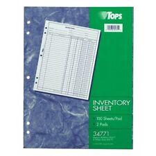 TOPS 34771 Inventory Sheet White 100 SH 2 PD per PK.