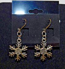 Christmas Tibetan Silver Snowflake Dangle Earrings on Leverback Findings