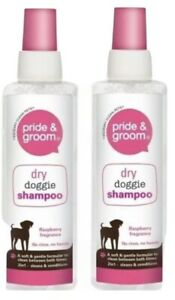 2x Pride & Groom Dog Doggie Dry Shampoo Spray with Raspberry Fragrance - 200ml