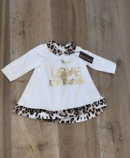 NEW with Box Roberto Cavalli baby girl Dress With Leopard Trim