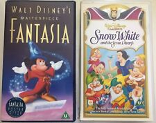 WALT DISENY *RARE UK 2x VHS VIDEO LOT Fantasia - Snow White & The Seven Dwarfs