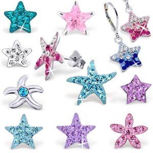 Kristall Sterne Seestern 925er Silber Ohrringe Ohrstecker Kinder Damen Mädchen