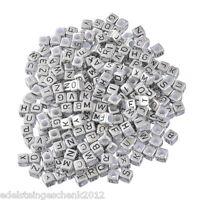 "500 Silbergrau Acryl Buchstaben ""A-Z"" Würfel Spacer Perlen Beads 6x6mm"