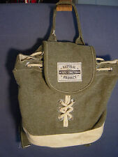 BACKPACK SCHOOL BAG PURSE CARRY ALL TOTE NATURAL FABRIC GRAY DENIM BAG
