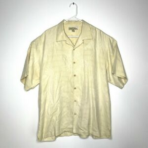 TOMMY BAHAMA Embroidered Floral Palm Tree Yellow Silk Button Shirt Mens L