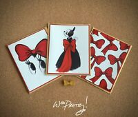 2015 D23 Disney Designer Signature Minnie Gold Bow Pin LE 300 + 3 Art Note Cards