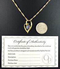 Heart Design Australian Triplet Opal Necklace Pendant 18ct Gold Plated W Cert