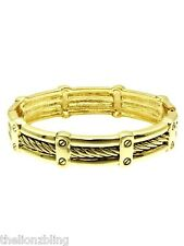 Urban Gothic Industrial Cable Wire design Gold Hinged Bangle Bracelet