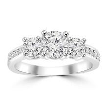 1.97 ct Ladies Three Stone Round Cut Diamond Engagement Ring 18 kt Gold