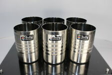 """Tumbler Metal Cups """"Dolly Excellent"""" Silver Colored Set 6 Striated Stripe Design"""