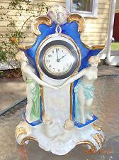 antique German art nouveau porcelain mantle clock not running