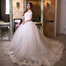 Vintage White/Ivory Half Sleeve Wedding Dress Formal Bridal Gown Ball Custom SZ