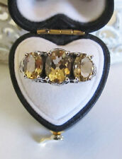 Three-Stone Citrine Sterling Silver Filigree Ring Size 7 Vintage Antique Style