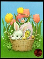 Vintage Morehead Bunny Rabbit Sugar Egg Chickens - Small Easter Greeting Card