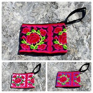 Thai Hippie Boho Hmong Floral Embroidery Wrist Purse Ethnic Cosmetic MakeUp Bag