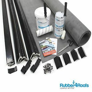 Free Standing Garage Flat Rubber Roof Kit, Includes EPDM Membrane, Trims & Glues