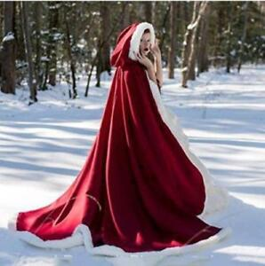 2020 Women's Hooded Faux Fur Decorated Winter Wedding Long Cape Shawl Shawl top