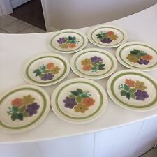"Eight (8) Franciscan Earthenware Floral Pattern 8 1/2"" Salad Plates 1970s #2a"