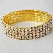 Stretchable Bangle Bracelet Four Row Clear Rhinestones
