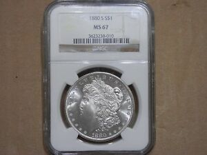 """1880 S Morgan Silver Dollar - NGC MS67  """"REALLY AWESOME""""  """"VERY SHINY"""""""