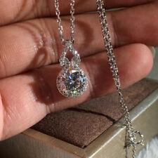 Gorgeous 925 Silver Necklace Pendant Women White Sapphire Wedding Jewlery Gift