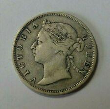 1892 Hong Kong Silver 20 Cents Coin VF