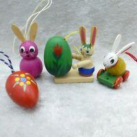 Vintage Erzgebirge Wood Easter Ornaments Lot Bunny Rabbit Egg Germany Small