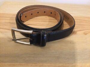 """Men's Marks And Spencer Genuine Black Leather Belt 42-44"""" T2149"""